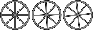 Three frames from an animation of a rotating wheel