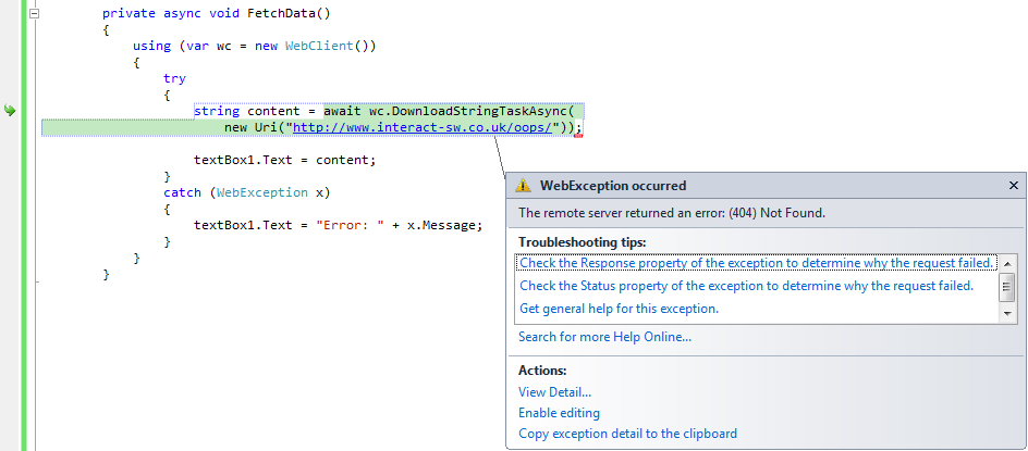 DownloadStringTaskAsync throwing a WebException in Visual Studio