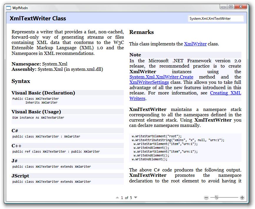 WPF MSDN Reader